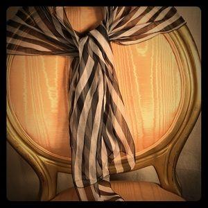 Silk Black&White Striped French Scarf